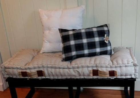 french mattress striped with plaid pillow