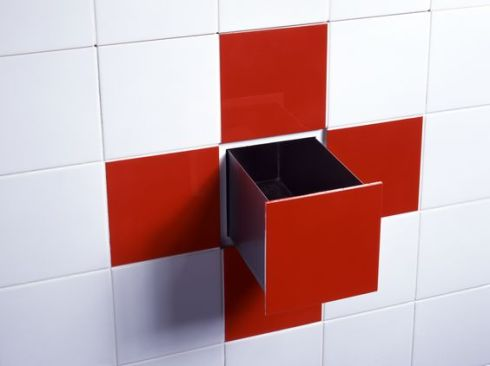 red cross shower wall with box