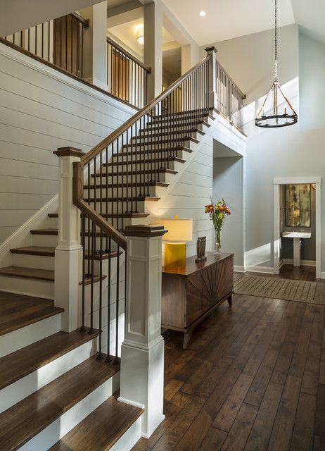staircase of black with shiplap
