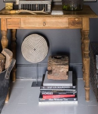 gray house table with books