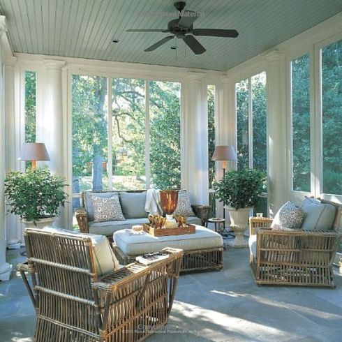 exterior pale blue ceiling with wicker