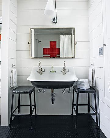 red cross shower wall