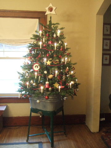 christmas tree in wash tub