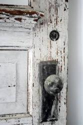door of shabby white