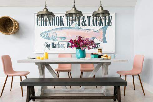 DH fish picture + dining chairs in blush