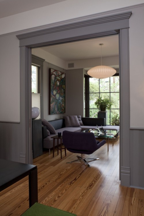 gray wainscoting and woodwork