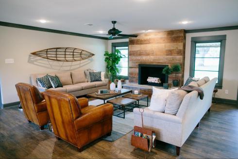 gray woodwork -- fixer upper living room