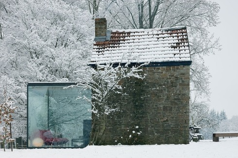 cabins in winter belgian stone exterior