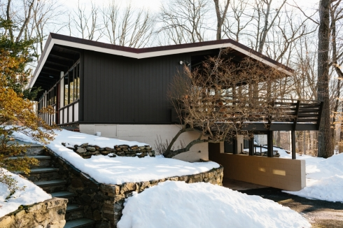 cabins in winter -- new york state exterior