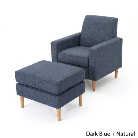 chair -- dark blue with ottoman