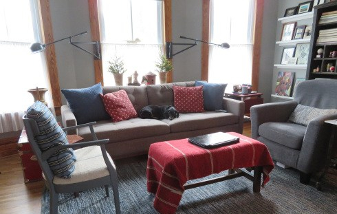 living room with gray everything