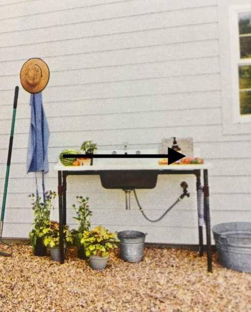 magazine sink in backyard