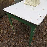 table white top painted green sides
