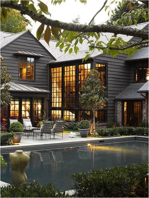 black cape cod with pool