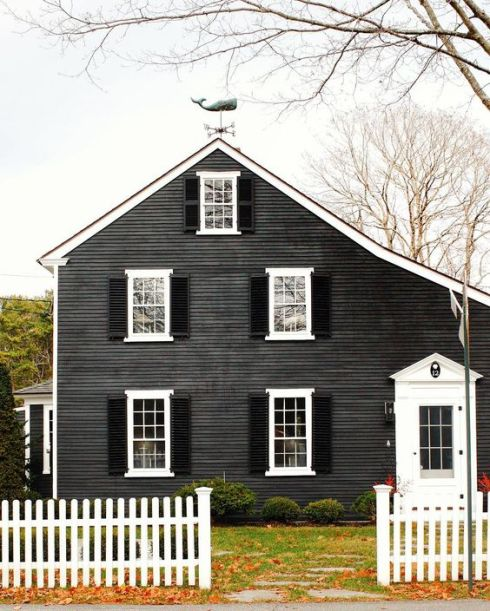 cape cod of charcoal with weathervane